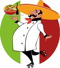 Mexican chef on roller skates bringing food