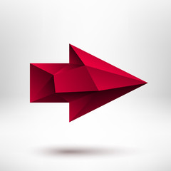 3d Red Right Arrow Sign with Light Background