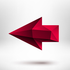 3d Red Left Arrow Sign with Light Background