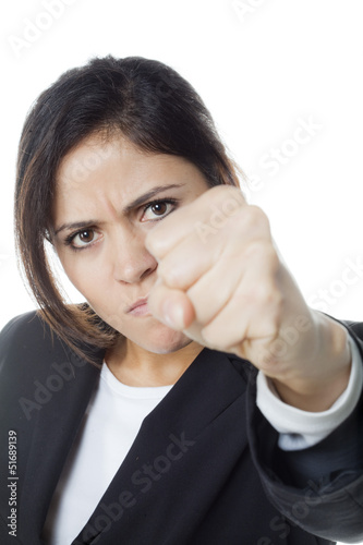 authoritarian watching out gesture from angry woman