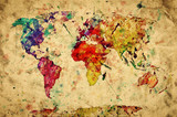 Vintage world map. Colorful paint, watercolor on grunge paper poster