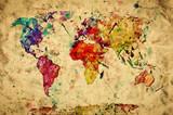 Vintage mapie? Wiata. Kolorowe farby, akwarela na papierze grunge