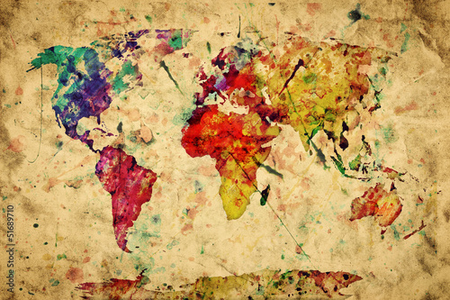 Fototapety, obrazy : Vintage world map. Colorful paint, watercolor on grunge paper