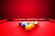 Billards pool game. Color balls in triangle