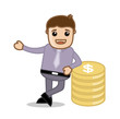 Successful Businessman with Currency Coins