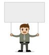 Cartoon Man Holding Blank Ad Banner