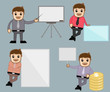 Cartoon Office People in Various Poses and Vector Concepts