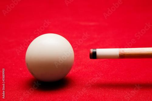 Billards pool game. Aiming at cue ball
