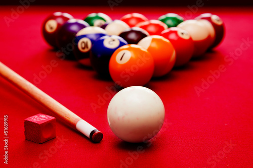 Billards pool game. Cue ball, cue color balls in triangle, chalk