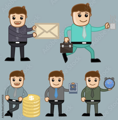 Cartoon Businessman Poses and Vector Concepts