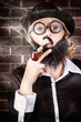 Funny private eye detective smoking pipe