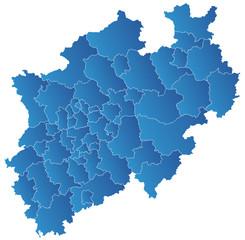 NRW Karte, Landkreise