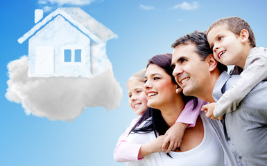 Family thinking of their dream house
