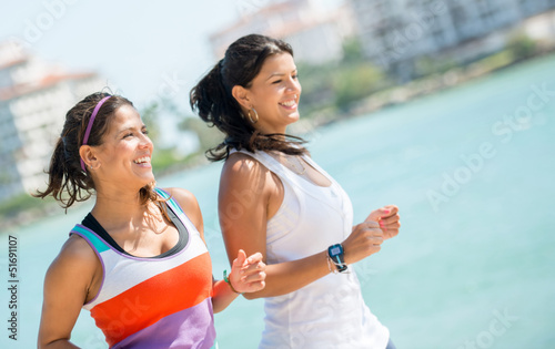 Women running outdoors