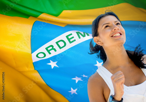 Woman running a marathon in Brazil