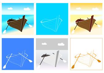Barque sur un bord de plage - 6 aspects