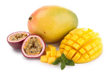 isolated mango and passion fruit