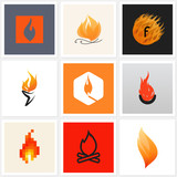 Flame. Set of posters, design elements