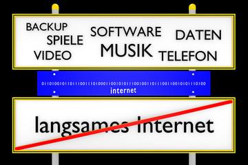 Daten vs langsames Internet konzeptionell_Internet - 3D