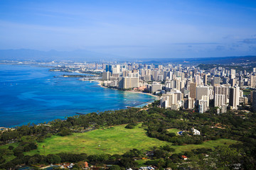 Downtown Honolulu and Waikiki from Diamond Head Crater, Hawaii