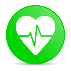 cardiogram green circle web glossy icon