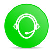 customer service green circle web glossy icon
