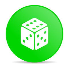 dice green circle web glossy icon