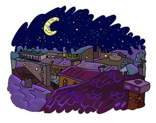 Night city rooftops illustration