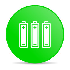 batteries green circle web glossy icon