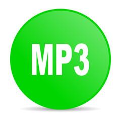 mp3 green circle web glossy icon