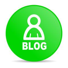 blog green circle web glossy icon