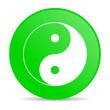 ying yang green circle web glossy icon
