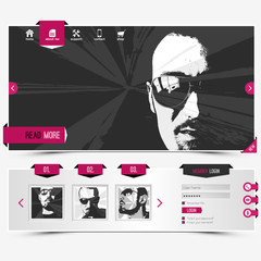 website template for personal gallery with four vector portraits