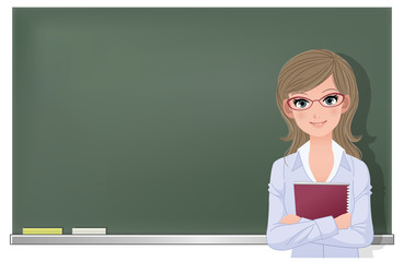 先生 黒板 Eyewear glasses female teacher at blackboard