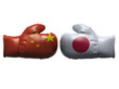 Boxing gloves with China and Japan flag