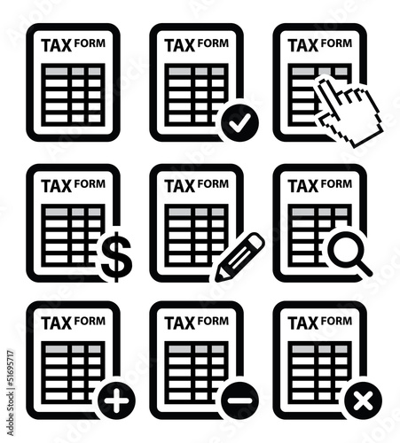 Tax form, taxation, finance vector icons set