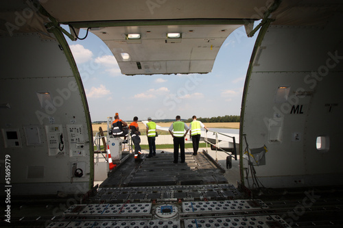 Cargo compartment door of an airplane a the airport
