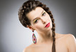 Brunette with Jewellery - Round Colorful Earring. Bijouterie