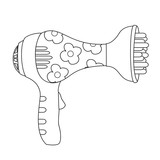 Outlined toy hair dryer. Vector illustration for coloring