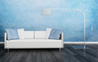 Modern couch in front of blue wall | 3d interior