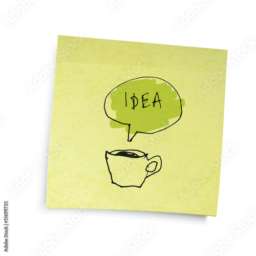 "Yellow sticky notes with coffee cup ""idea"" illustration. Vector"