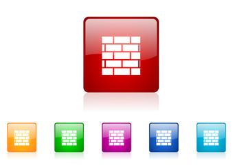 firewall vector glossy web icon set