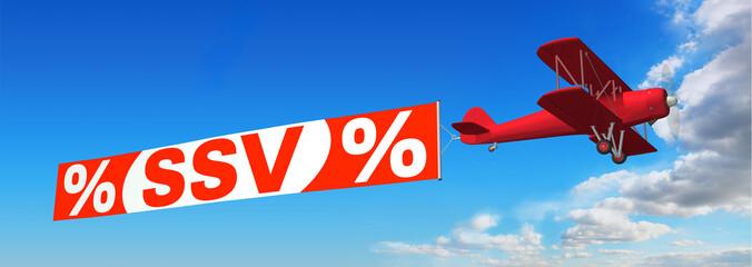 Doppeldecker mit Werbebanner % SSV %