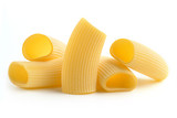 heap of italian pasta on white background