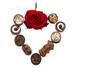 Herz aus Pralinen u. Rose zum Muttertag
