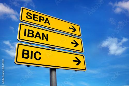Schild mit SEPA IBAN BIC