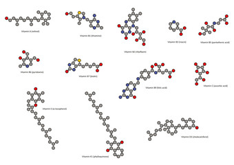 Vitamins (all except vitamin B12), chemical structures