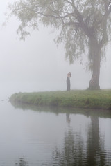 Single female in the mist