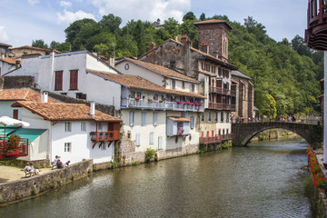 City with a bridge over the river, Saint Jean Pied de Port, Fran