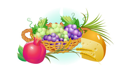 shavuot holiday set of food, grapes, cheese ,milk